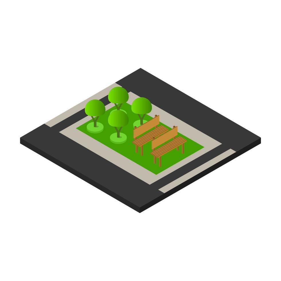 ícone de parque isométrico no fundo vetor