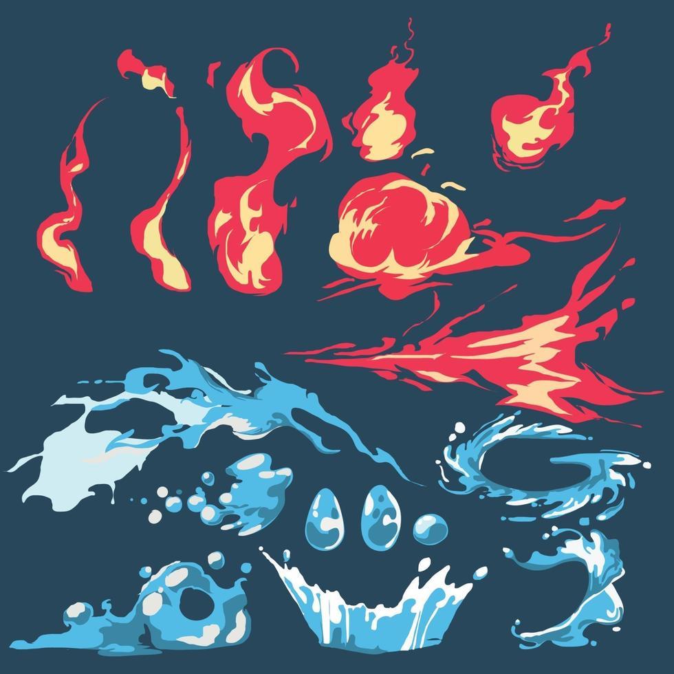 conjunto de quadrinhos de respingos de fogo e água. coleção de desenhos animados de fogo e água - vetor