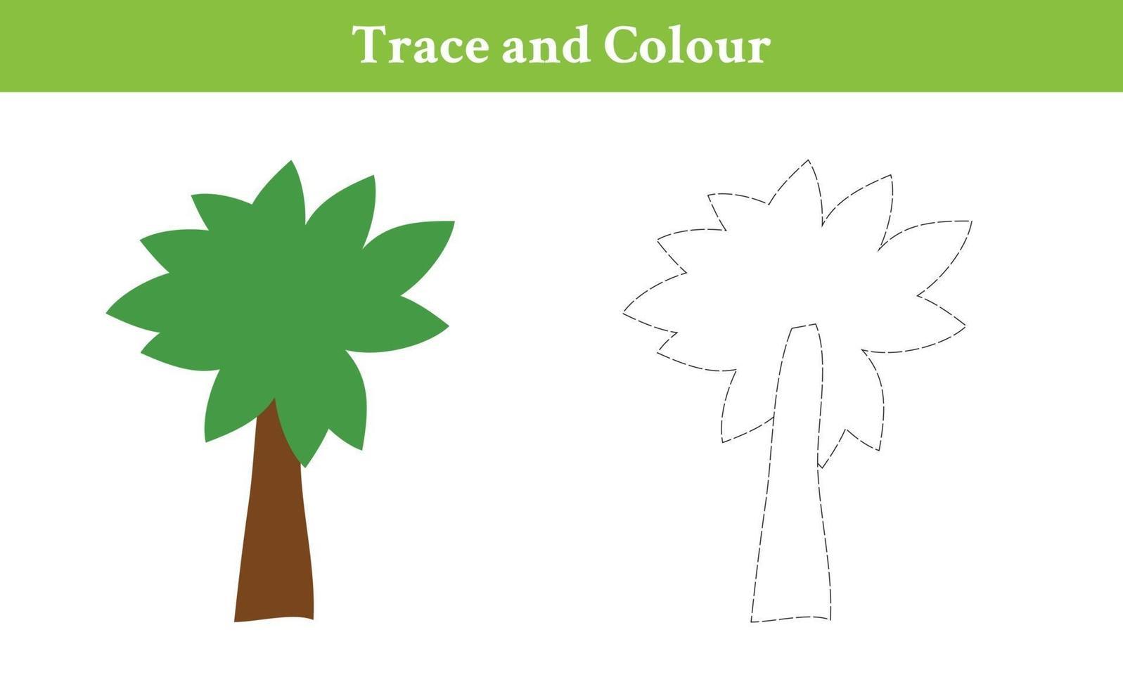 traço e árvore de cores vetor
