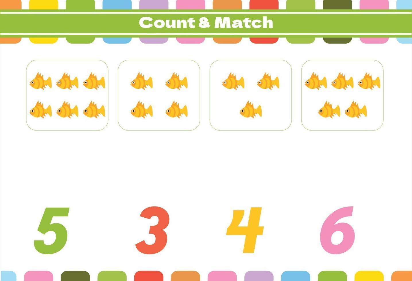 jogo de contagem para crianças pré-escolares vetor