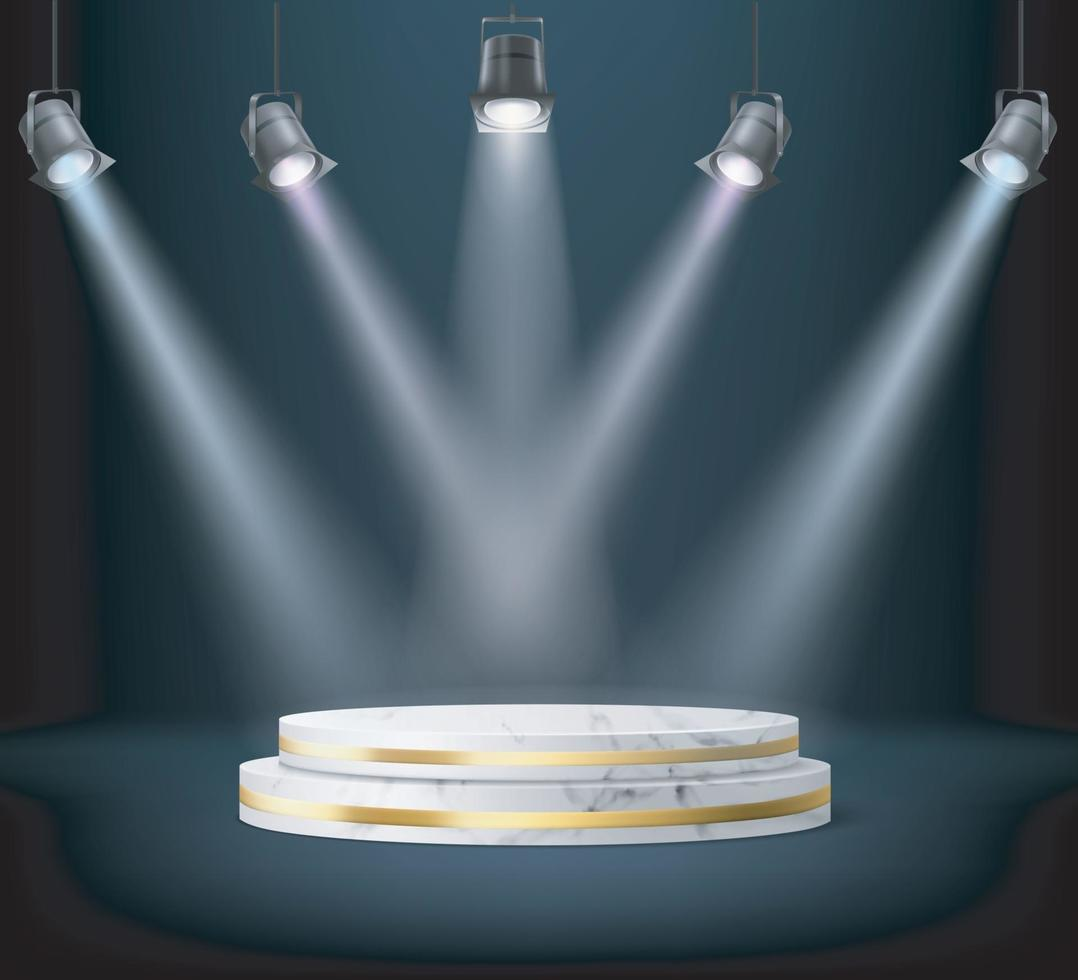 vetor realista spot lights no pódio branco redondo.