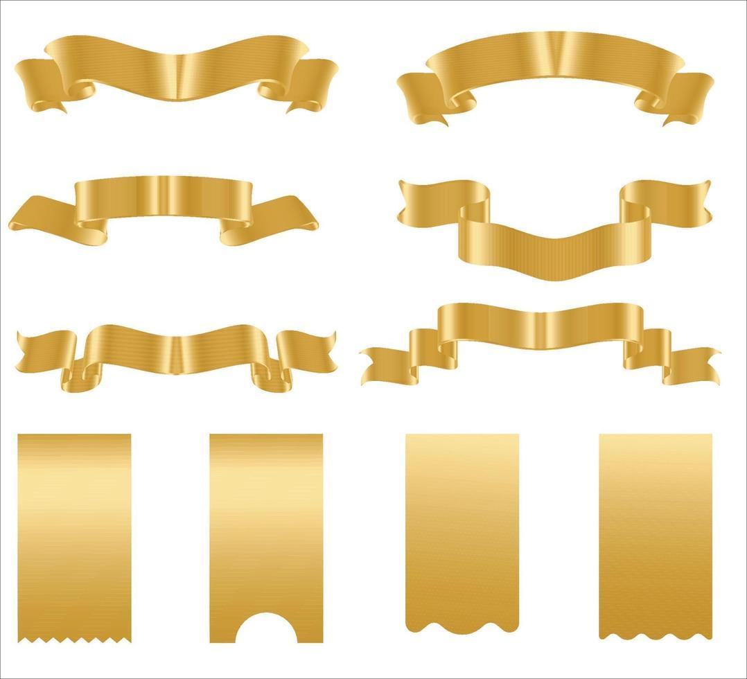 banners de fita dourada. conjunto de fitas de ouro. vetor
