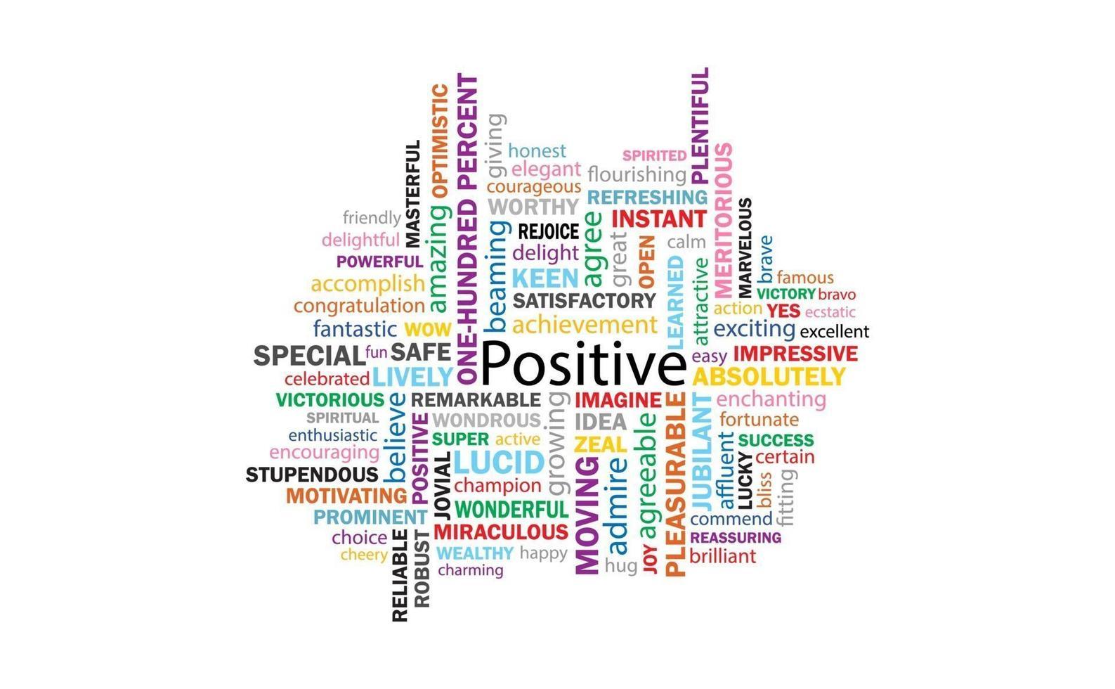 pensamento positivo 99 palavras para comunicação e afirmação. vetor