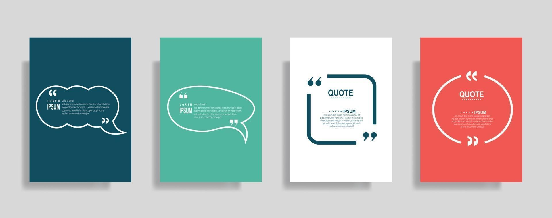 cita o conjunto de modelos em branco do quadro, texto entre colchetes, balões de fala vazios da citação. texto bos isolado na cor de fundo. vetor