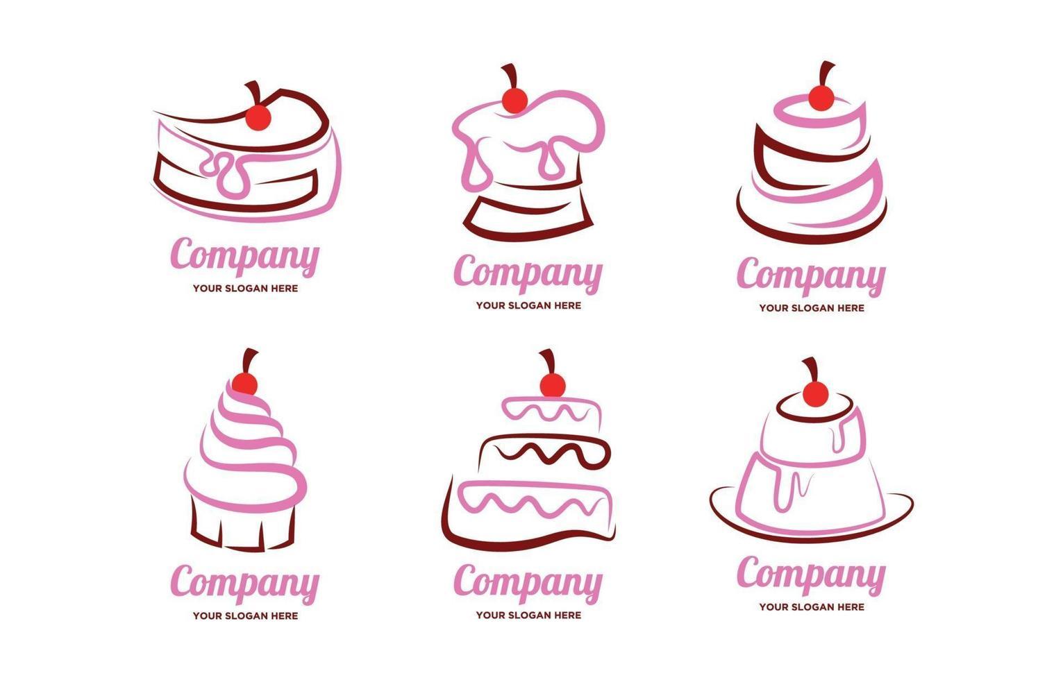 conceito de logotipo de bolo fofo vetor