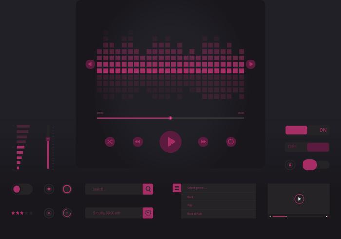 Interface de controle de música de áudio roxo em estilo plano no tema escuro vetor