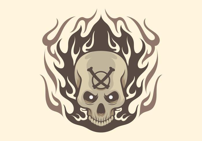Design de tatuagem de crânio flamejante vetor