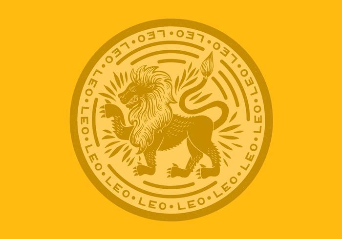 crachá do leo leão zodíaco vetor