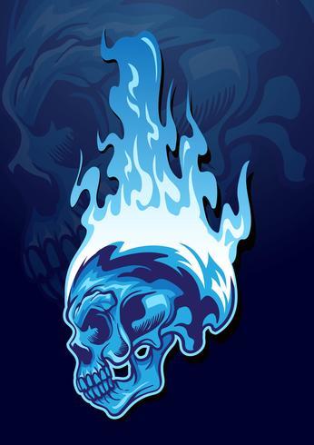 Ilustração de caveira em chamas vetor