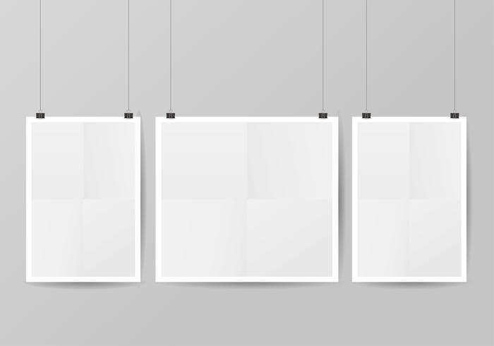 Mock Up realista branco cartaz pendurado vetor