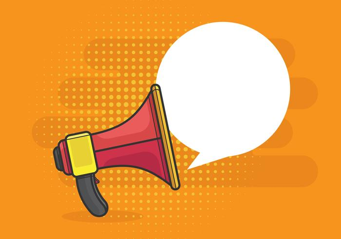 Pop Art Retro megafone ou alto-falante para alerta de notificação com discurso de bolha. vetor