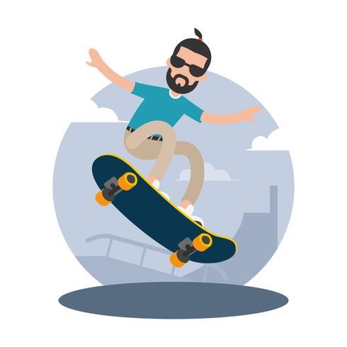 Hipster homem montando uma ilustração vetorial de skate vetor