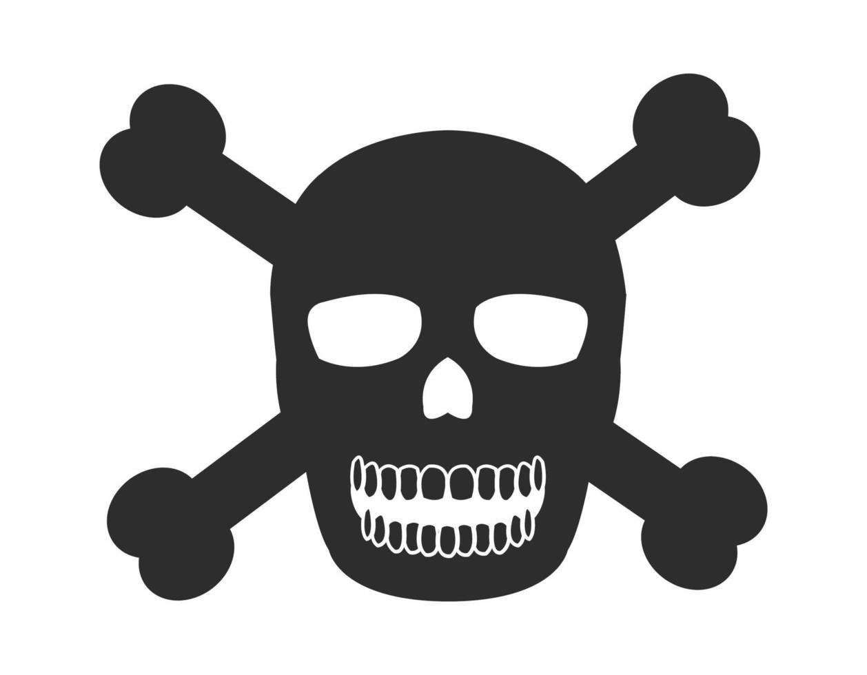 ícone de perigo de crânio e osso vetor