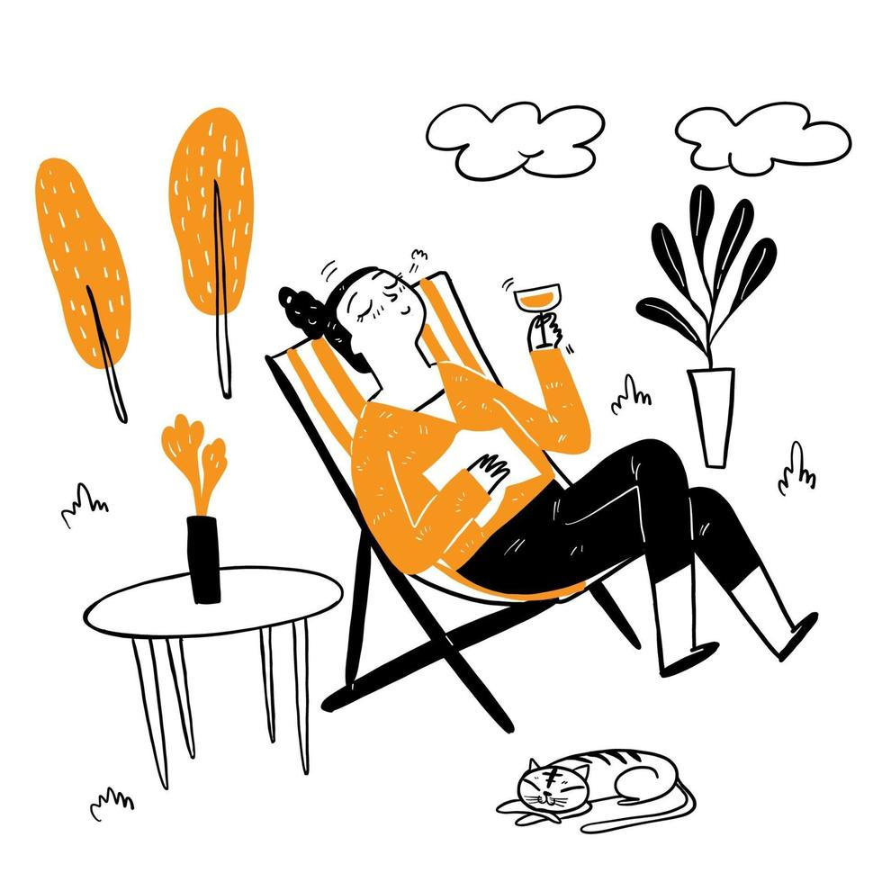Mulher bonita sentada em uma espreguiçadeira bebendo um coquetel chique vetor