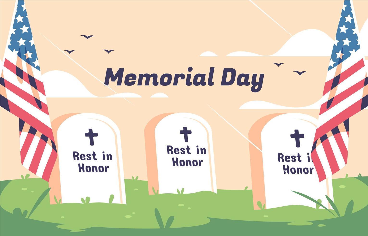fundo do dia do memorial com túmulos dos EUA vetor