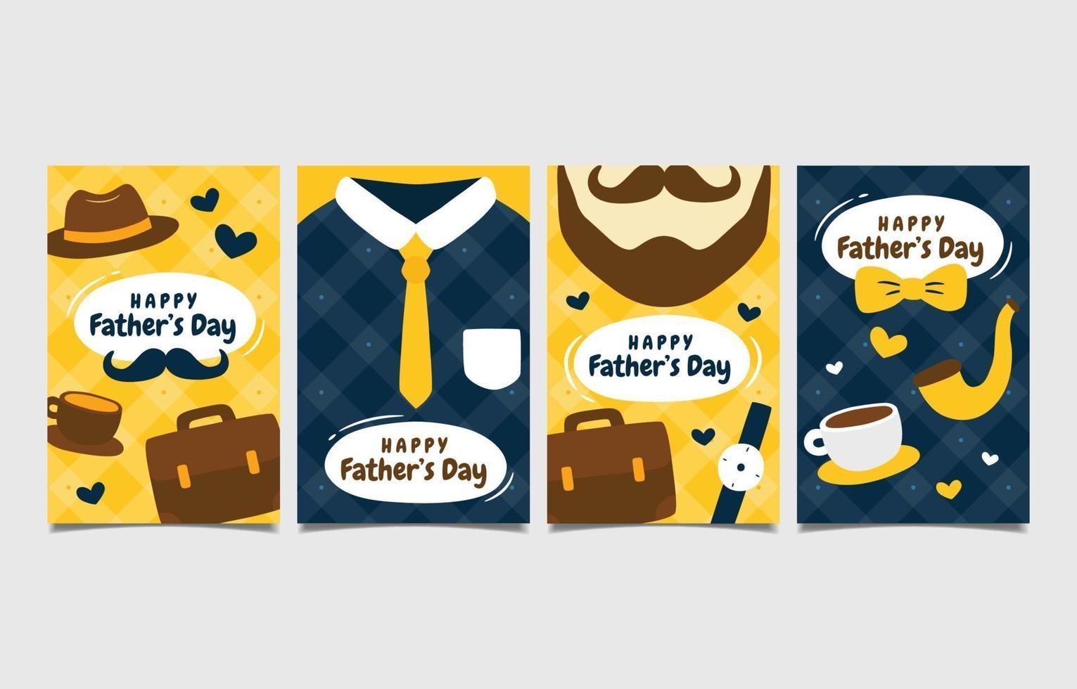 coleção de cartões de felicitações para o dia dos pais feliz vetor