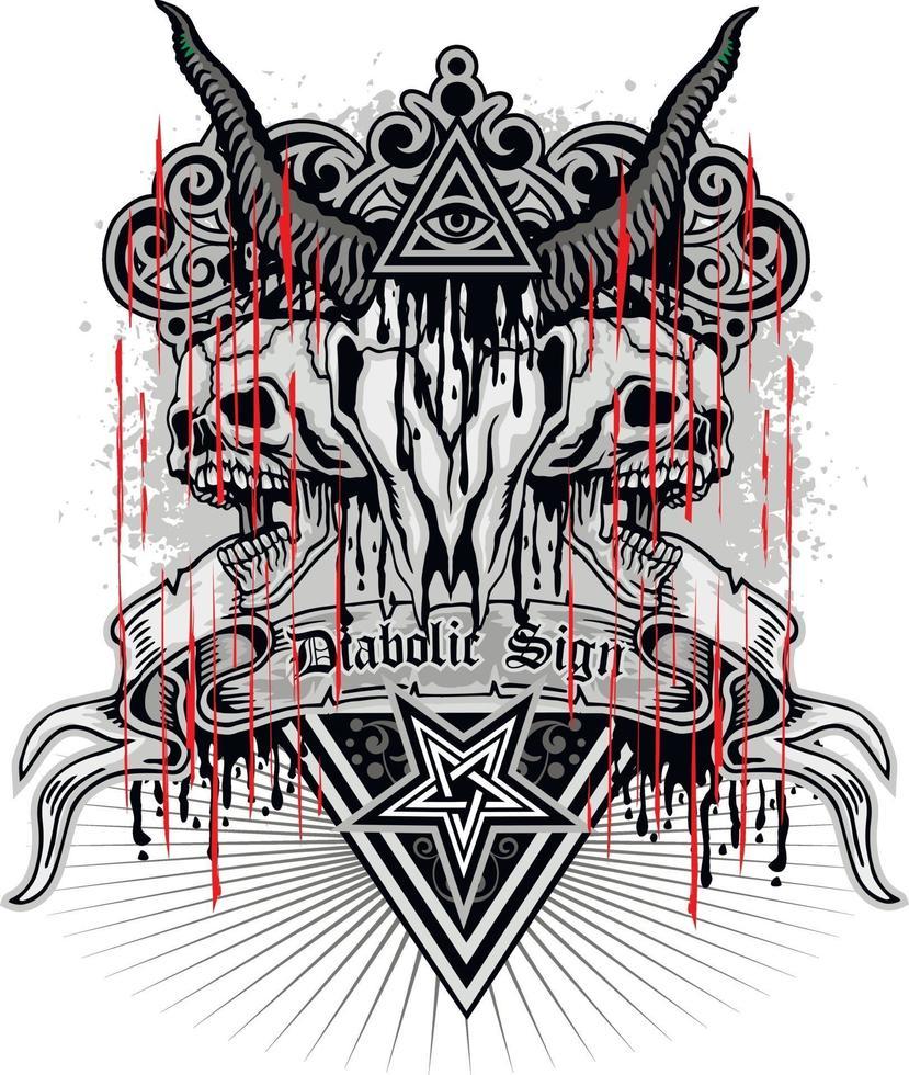 letreiro gótico com crânio de cabra e olho da providência, design vintage grunge vetor