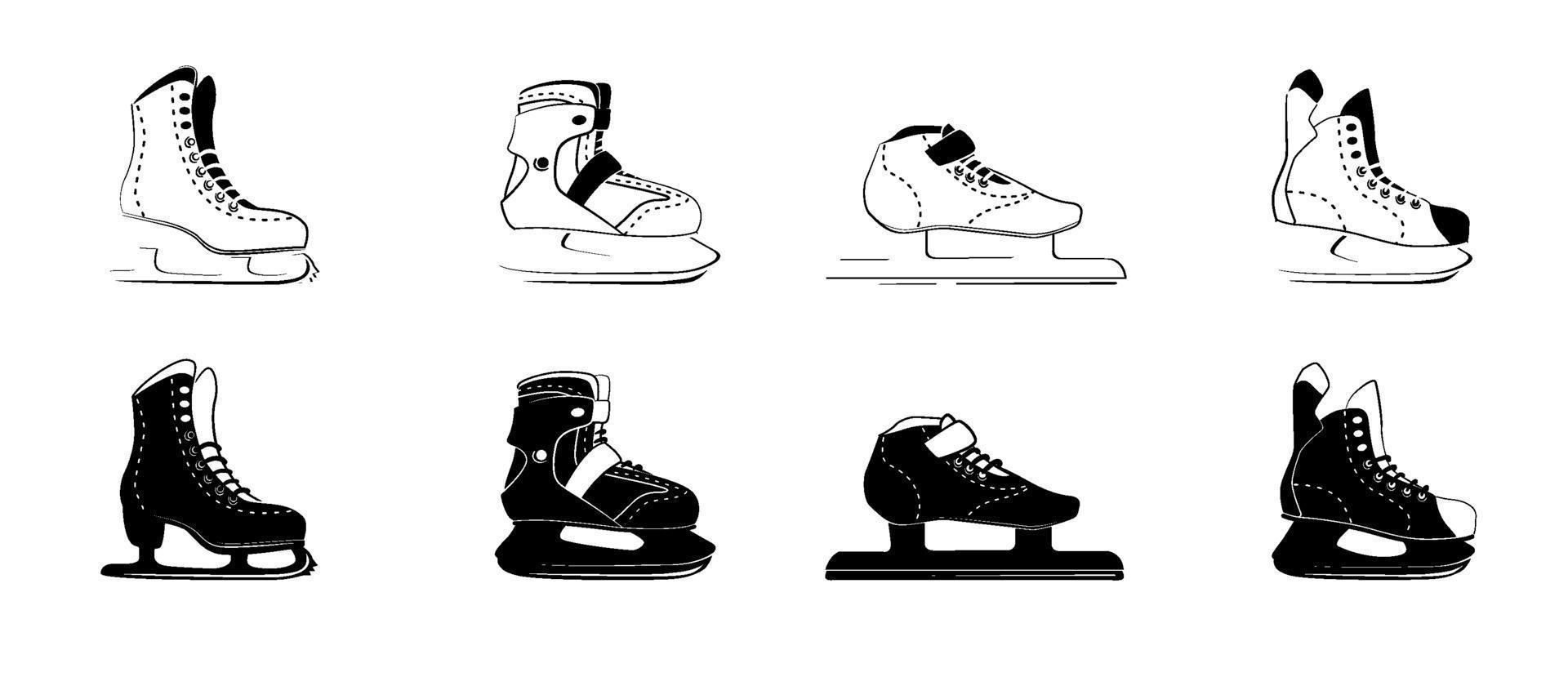 ícones de glifo de patins de gelo - figura, fitness, corrida, hóquei. tipo de botas de patinar no gelo. logotipo de equipamento de esporte de inverno em estilo de contorno preto. ilustração vetorial isolada no fundo branco. vetor