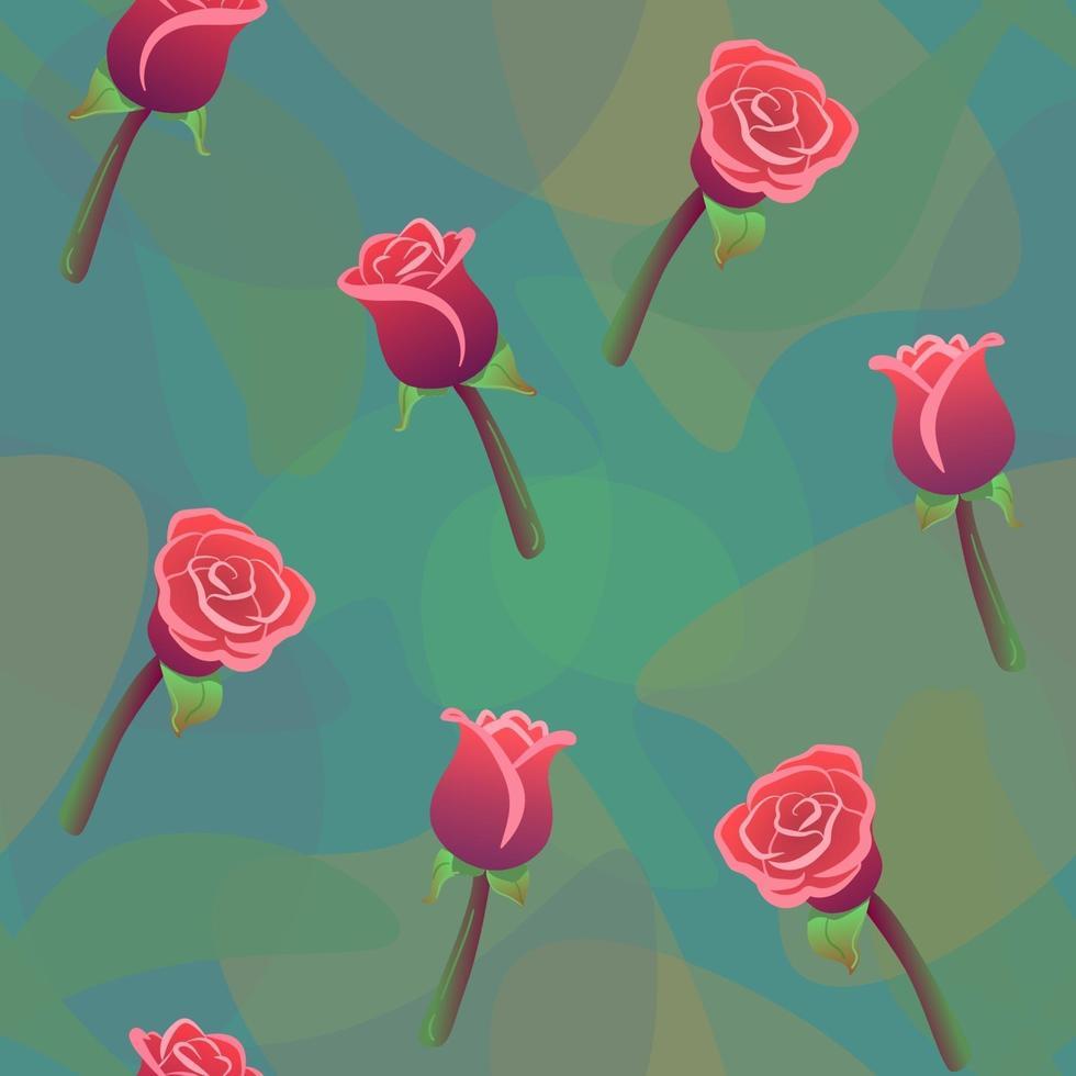 padrão sem emenda de rosas vermelhas com fundo verde de gotas de cor. amor, romântico, ornamento floral. impressão de repetição de vetor de natureza de casamento. papel de parede de flores, textura têxtil da moda. efeito de luz aquarela