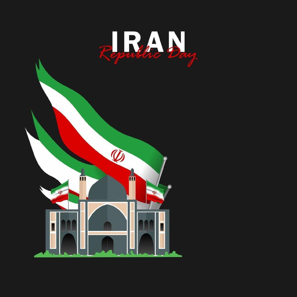vetor do dia da república com bandeiras do Irã. celebração do dia da República do Irã.