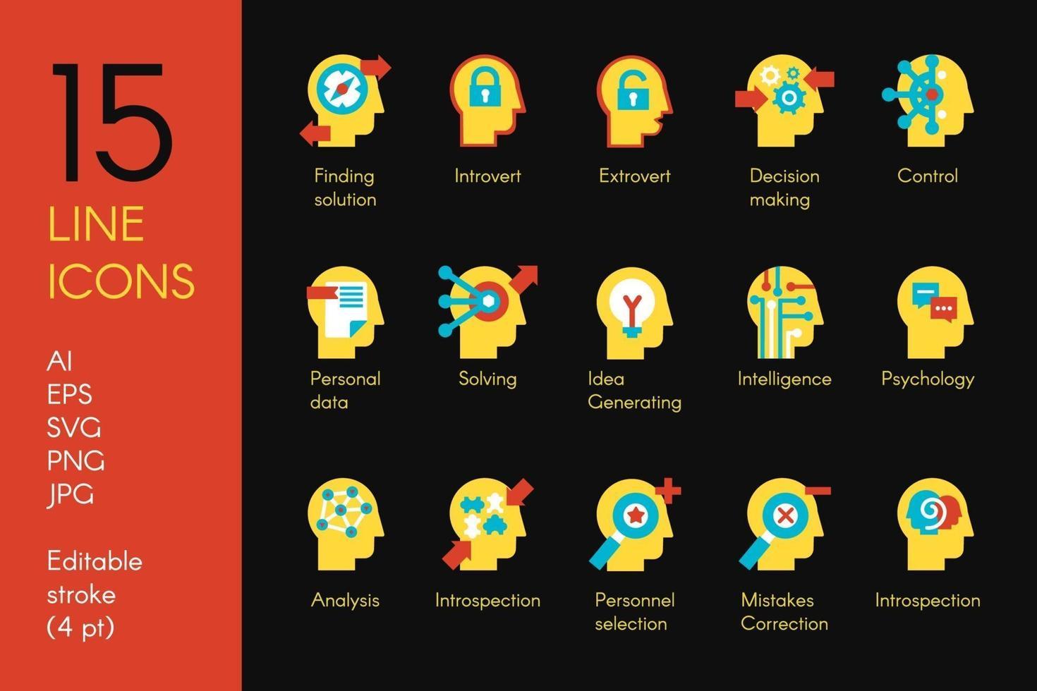 a mente humana processa o conjunto de ícones de vetor plana