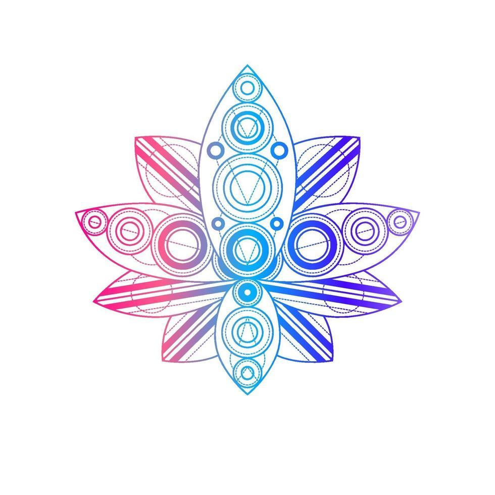 flor de lótus com ilustração linear vetorial de padrão geométrico vetor