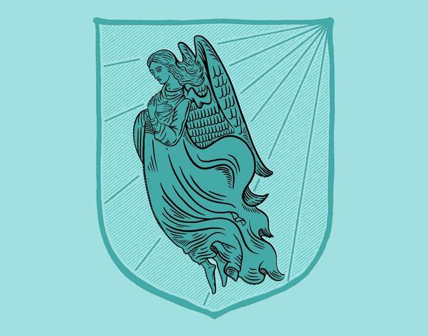 brasão de anjo vetor