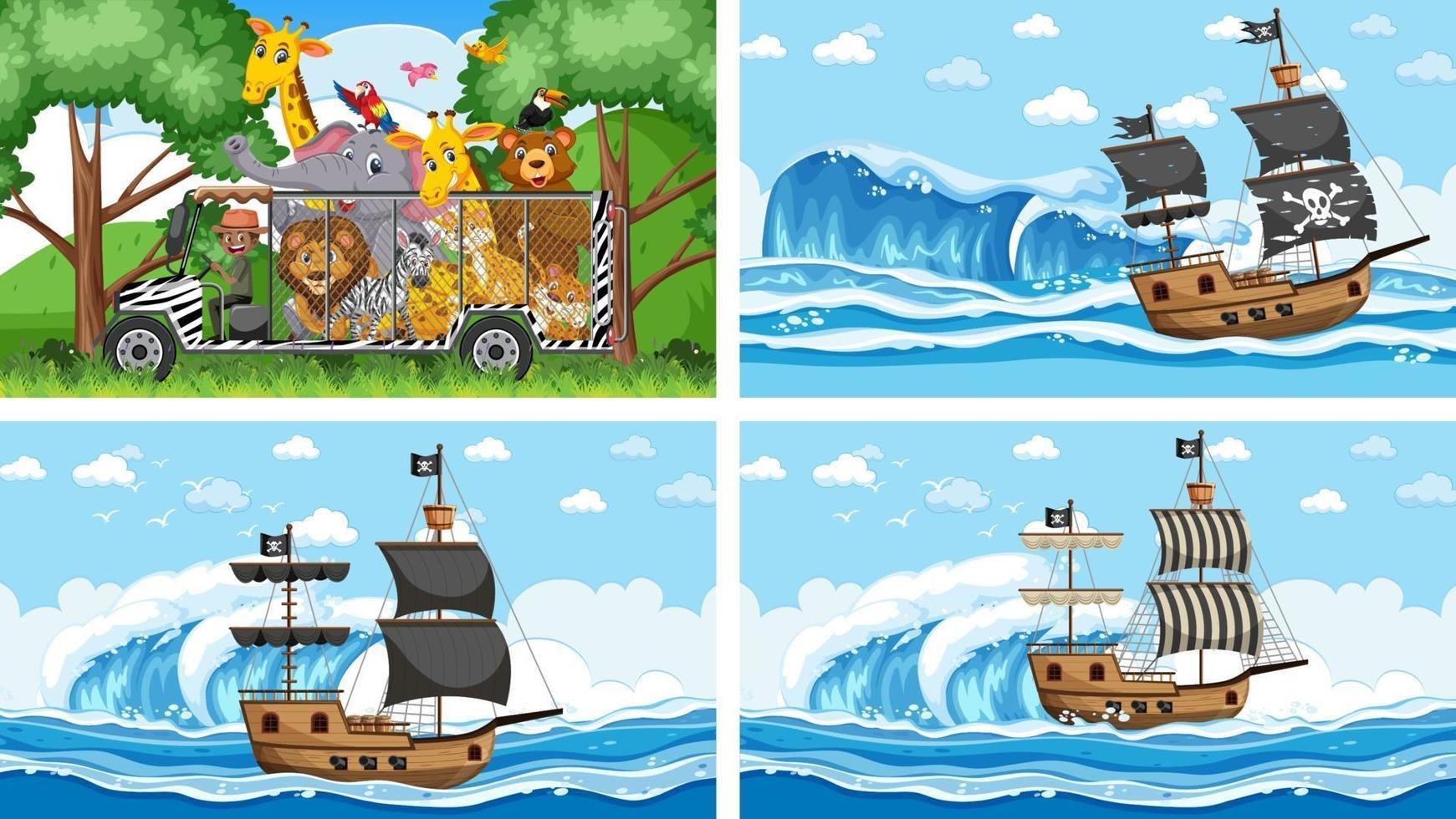conjunto de cenas diferentes com navio pirata no mar e animais no zoológico vetor