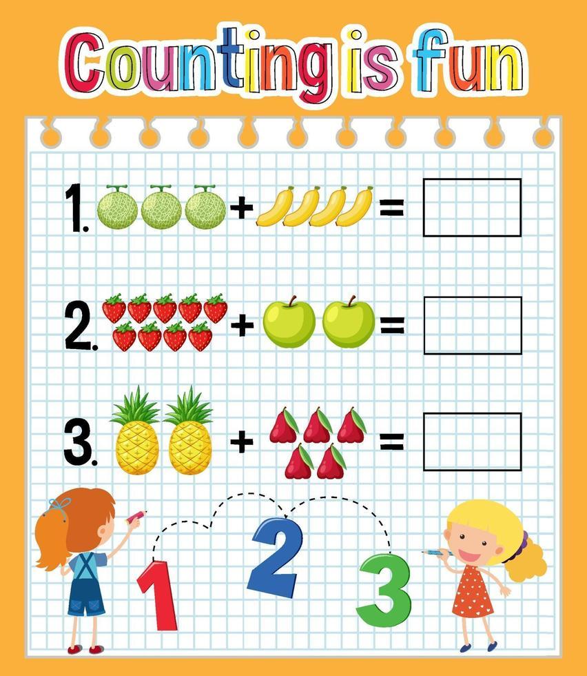 planilha de contagem matemática vetor