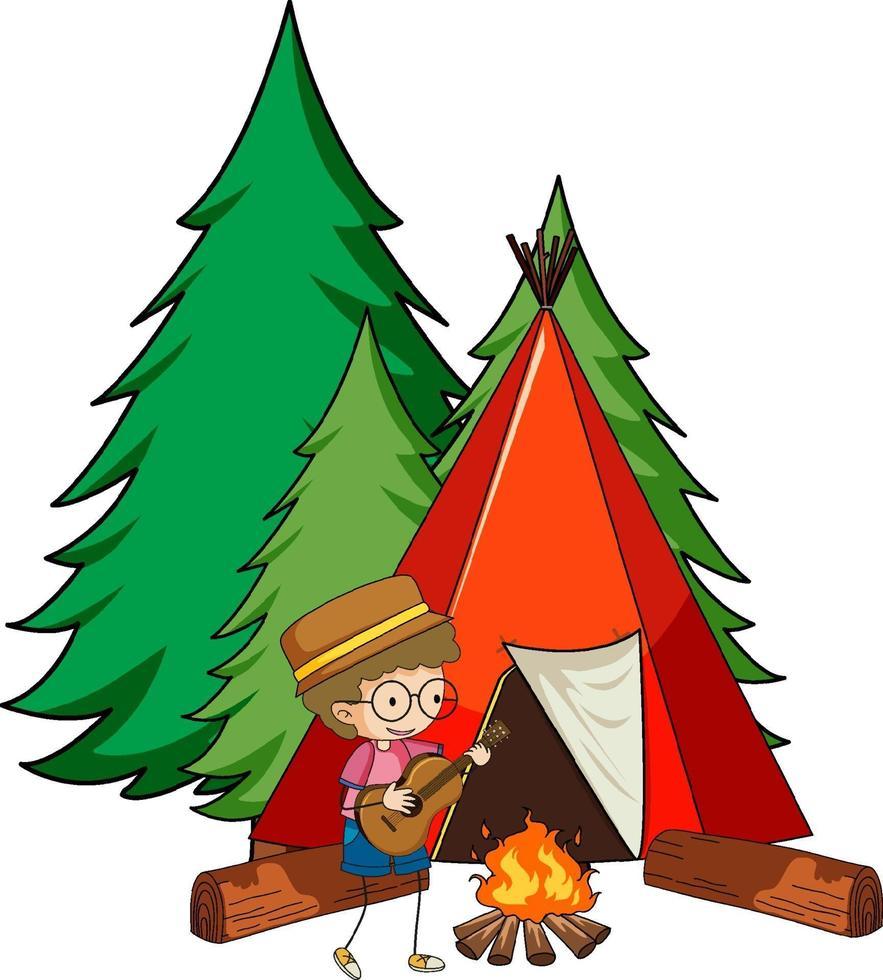 barraca de acampamento com personagem de desenho animado doodle infantil isolado vetor