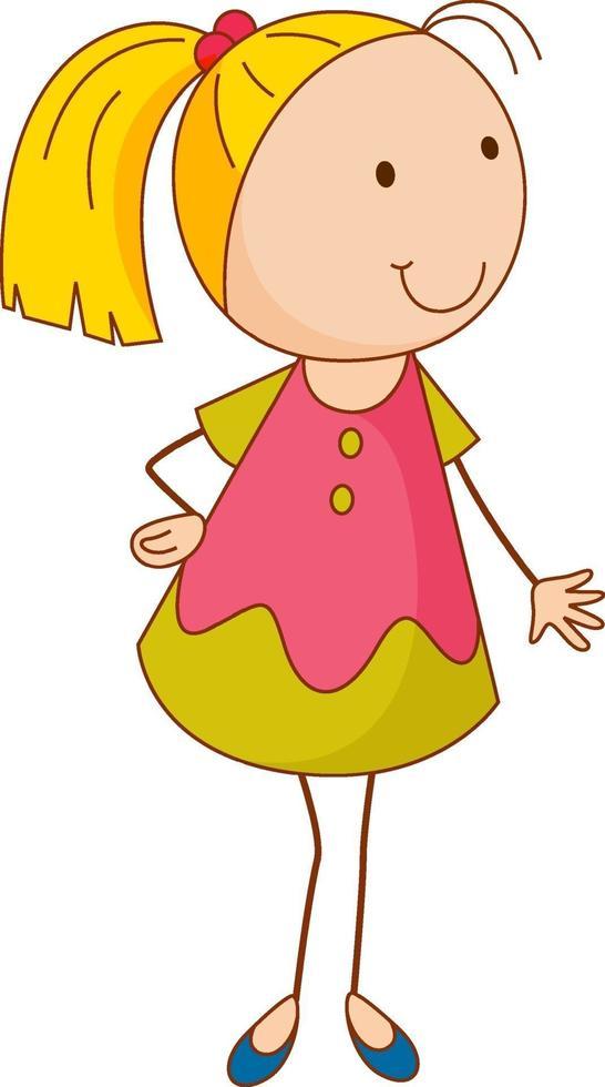 um personagem de desenho animado de menina em estilo doodle isolado vetor