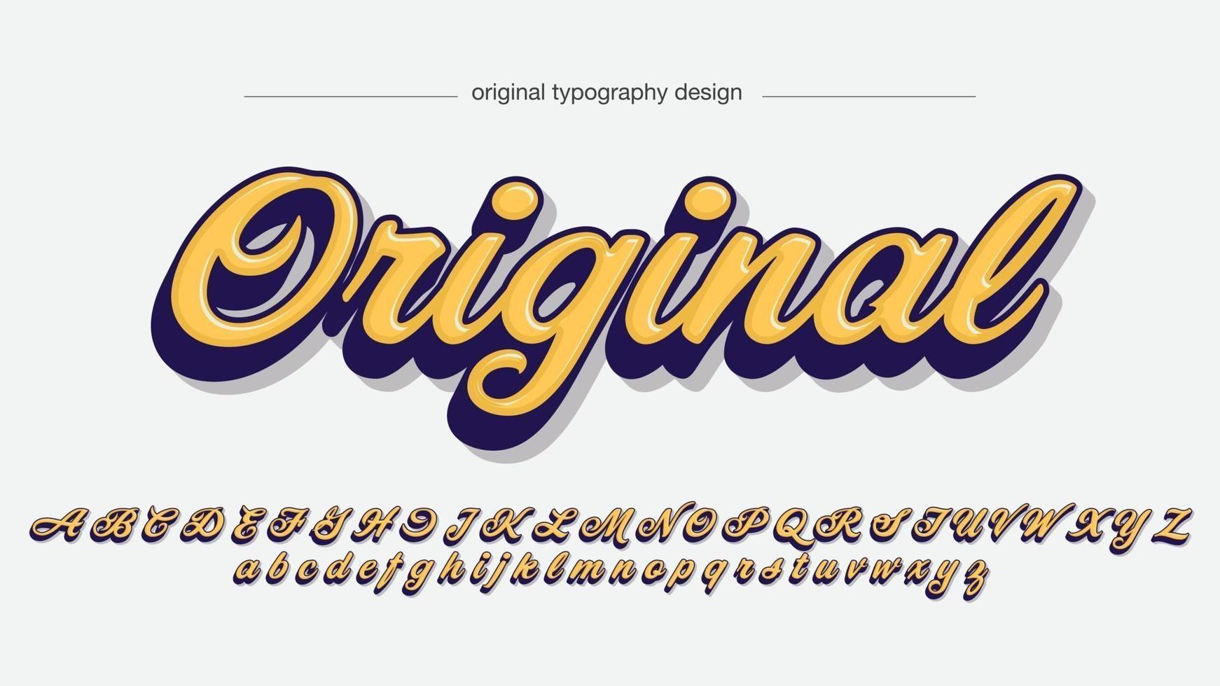 tipografia cursiva de caligrafia 3d amarela e azul vetor