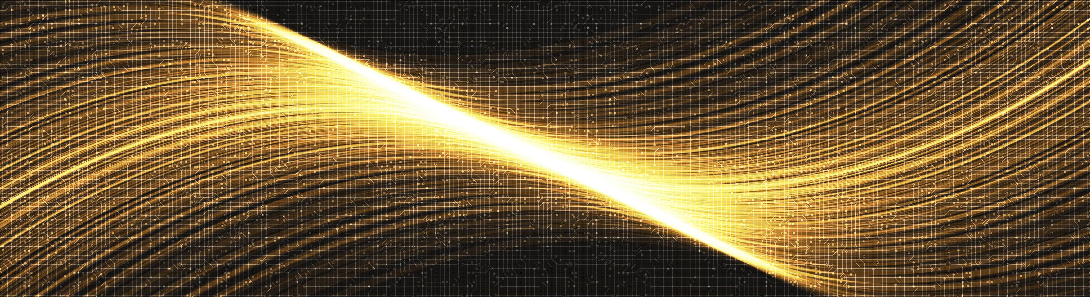 acenando fundo de tecnologia dourada, design de conceito de onda sonora e digital de alta tecnologia, espaço livre para texto colocado, ilustração vetorial. vetor