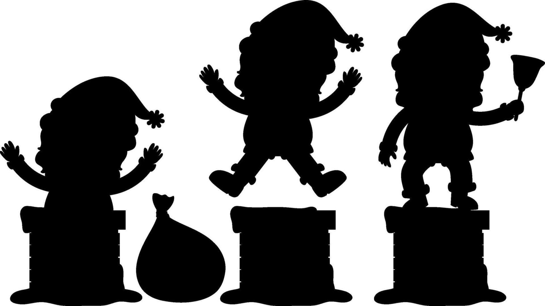 conjunto de personagem de desenho animado da silhueta de papai noel vetor