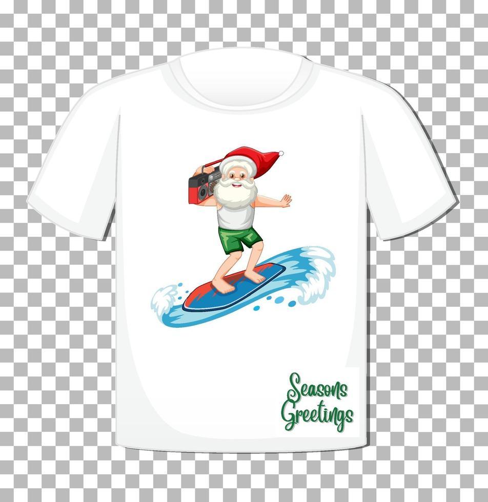 personagem de desenho animado de papai noel em camiseta isolada vetor