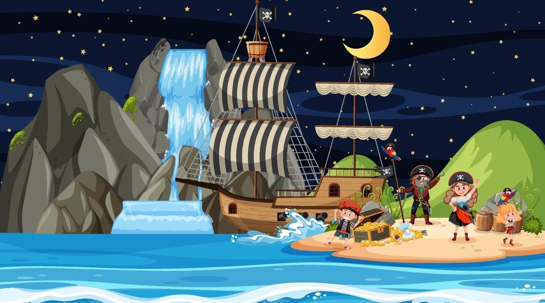cena da ilha do tesouro à noite com crianças piratas vetor