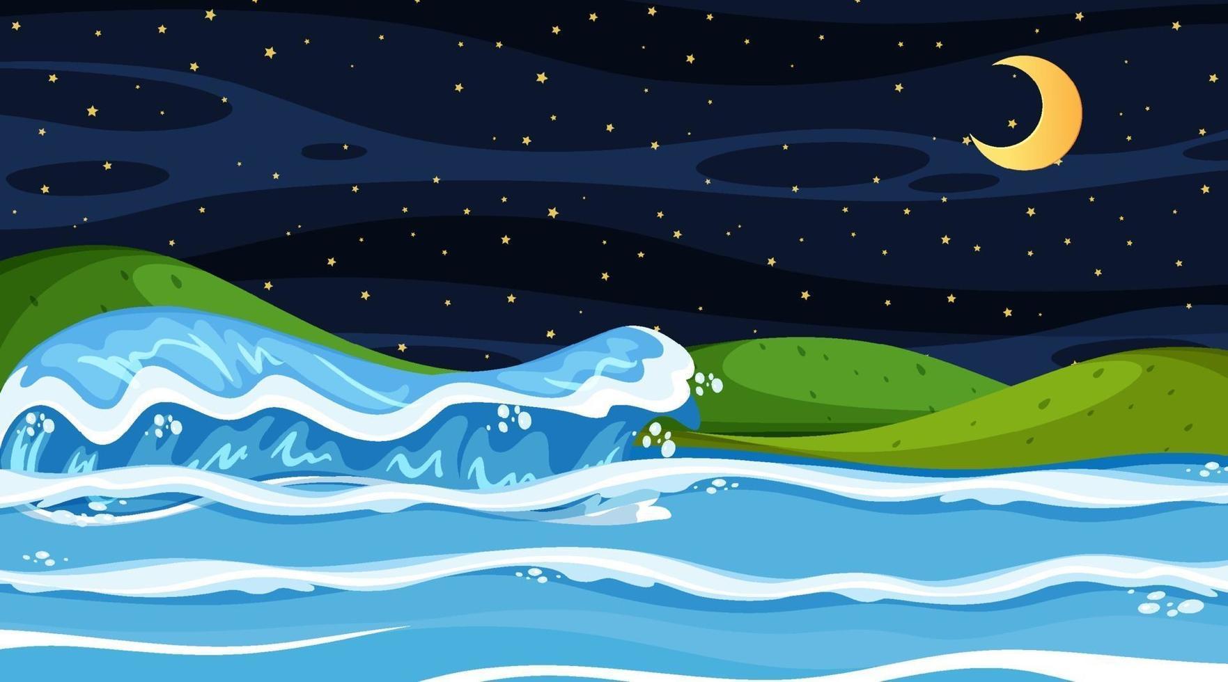 paisagem de praia à noite com ondas do mar vetor