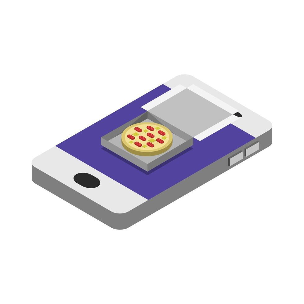 comprar pizza isométrica online vetor