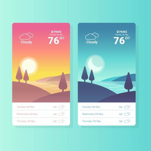 Vetor de telas de aplicativo do tempo