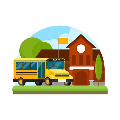 Vetor de ilustração de ônibus escolar