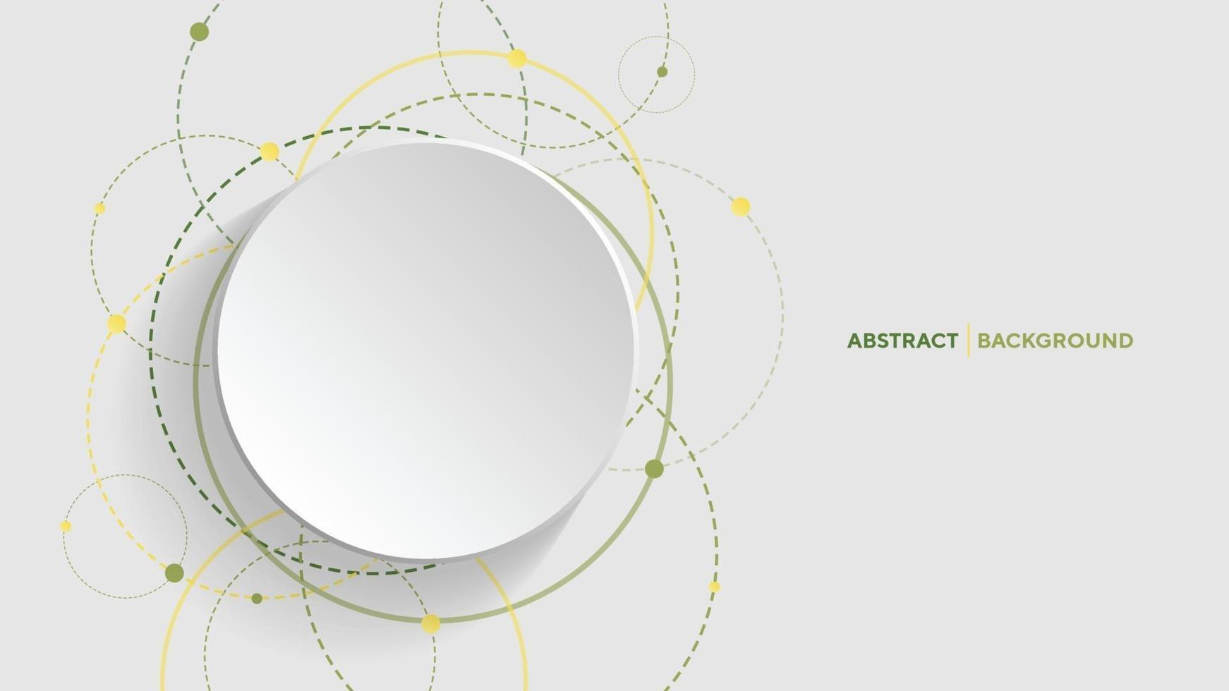 fundo geométrico abstrato com círculo gradiente verde sobre fundo branco vetor