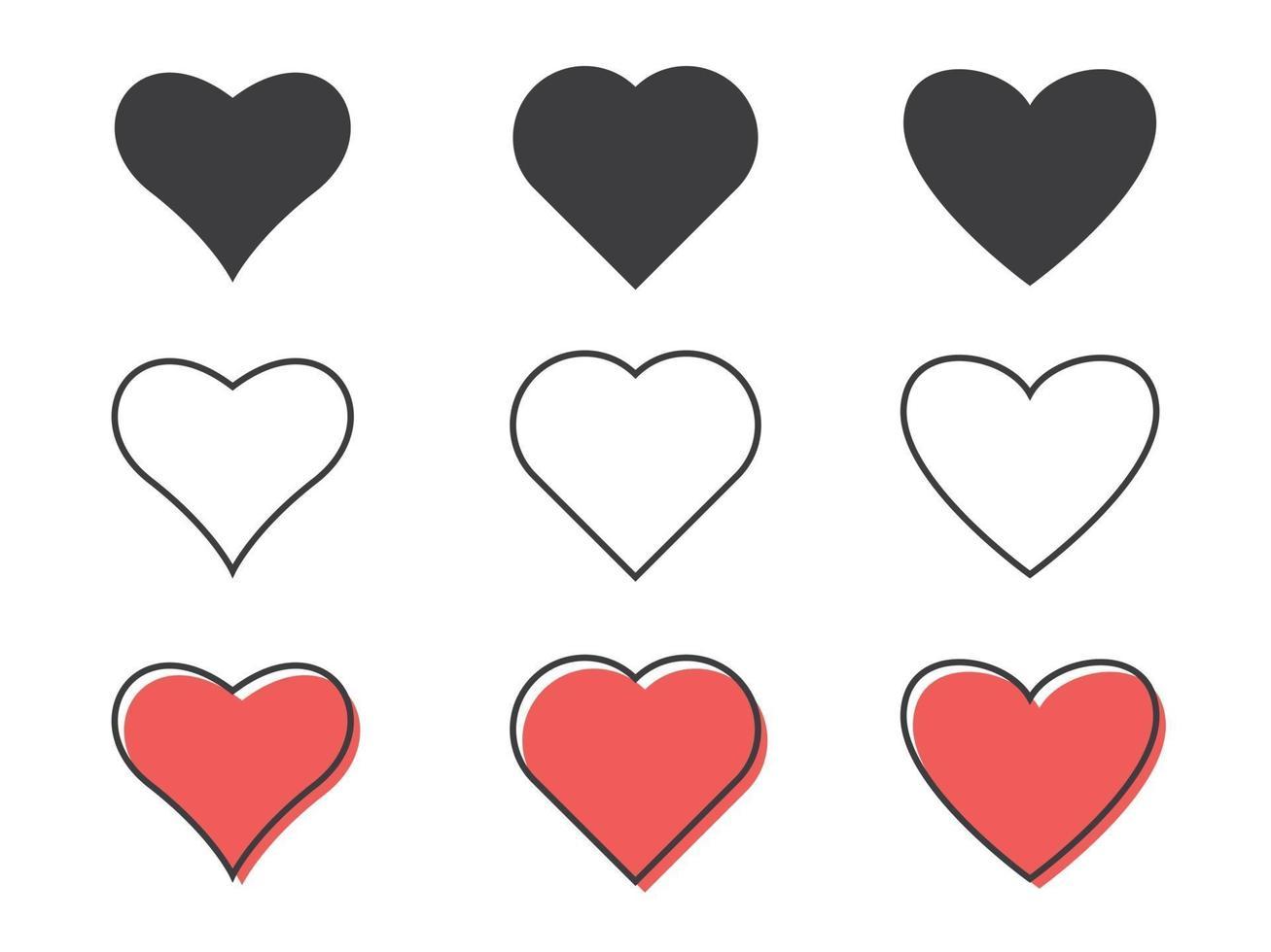 ilustração em vetor linha plana. ícones de coração isolados no fundo branco