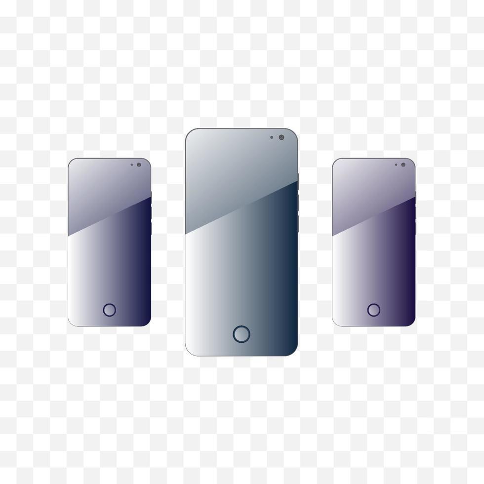 smartphone em fundo transparente. fundo da tela do quadro do gadget. vetor