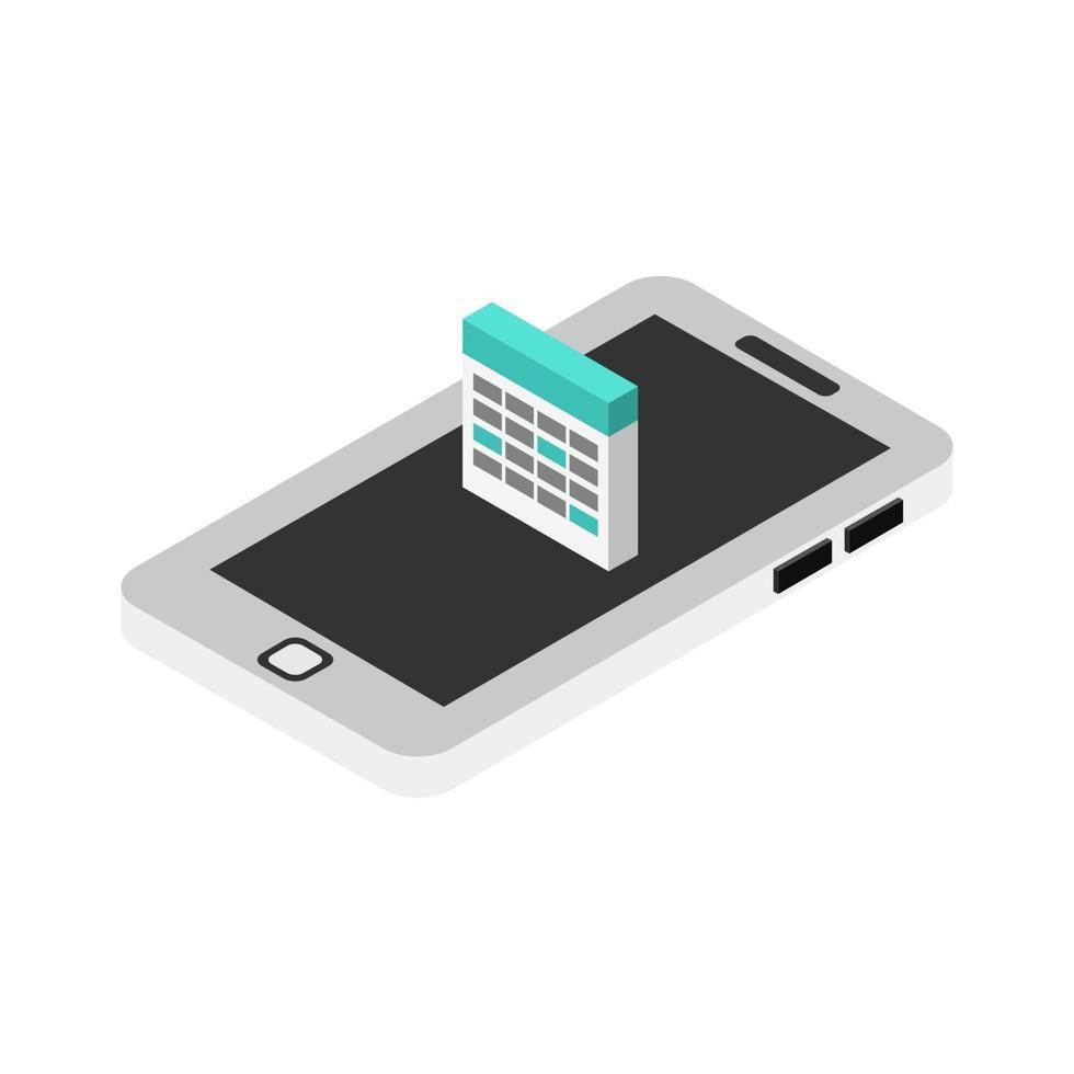 calendário em smartphone isométrico vetor