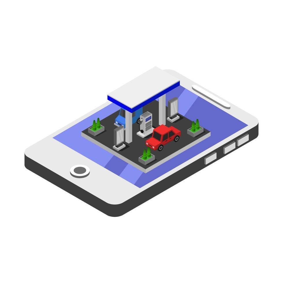 posto de gasolina isométrico no smartphone vetor