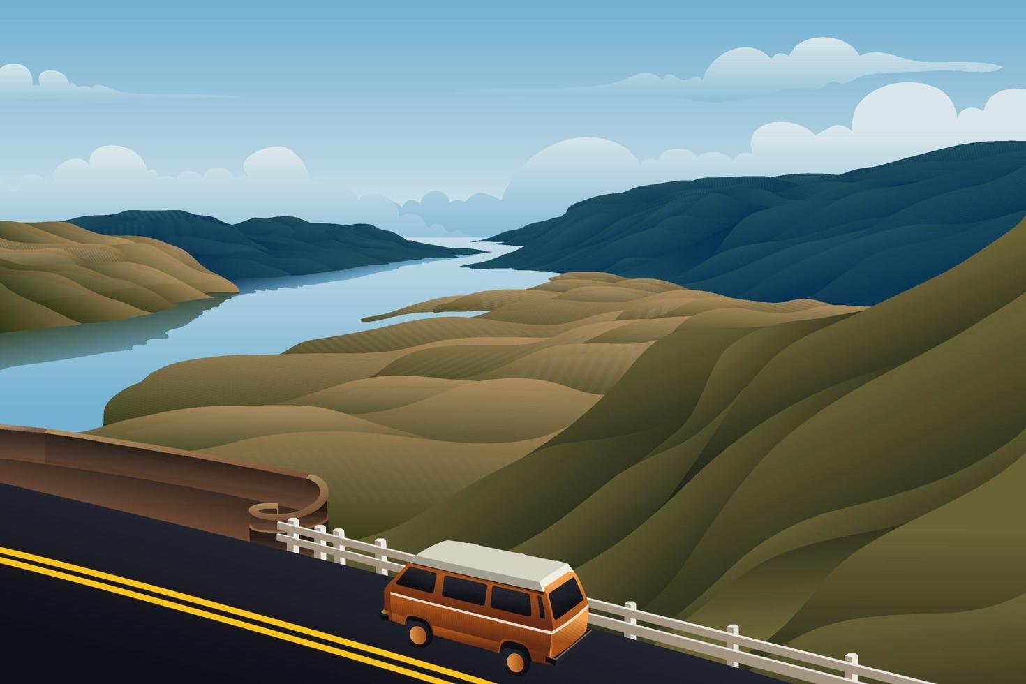 ônibus no rio da montanha da ponte vetor