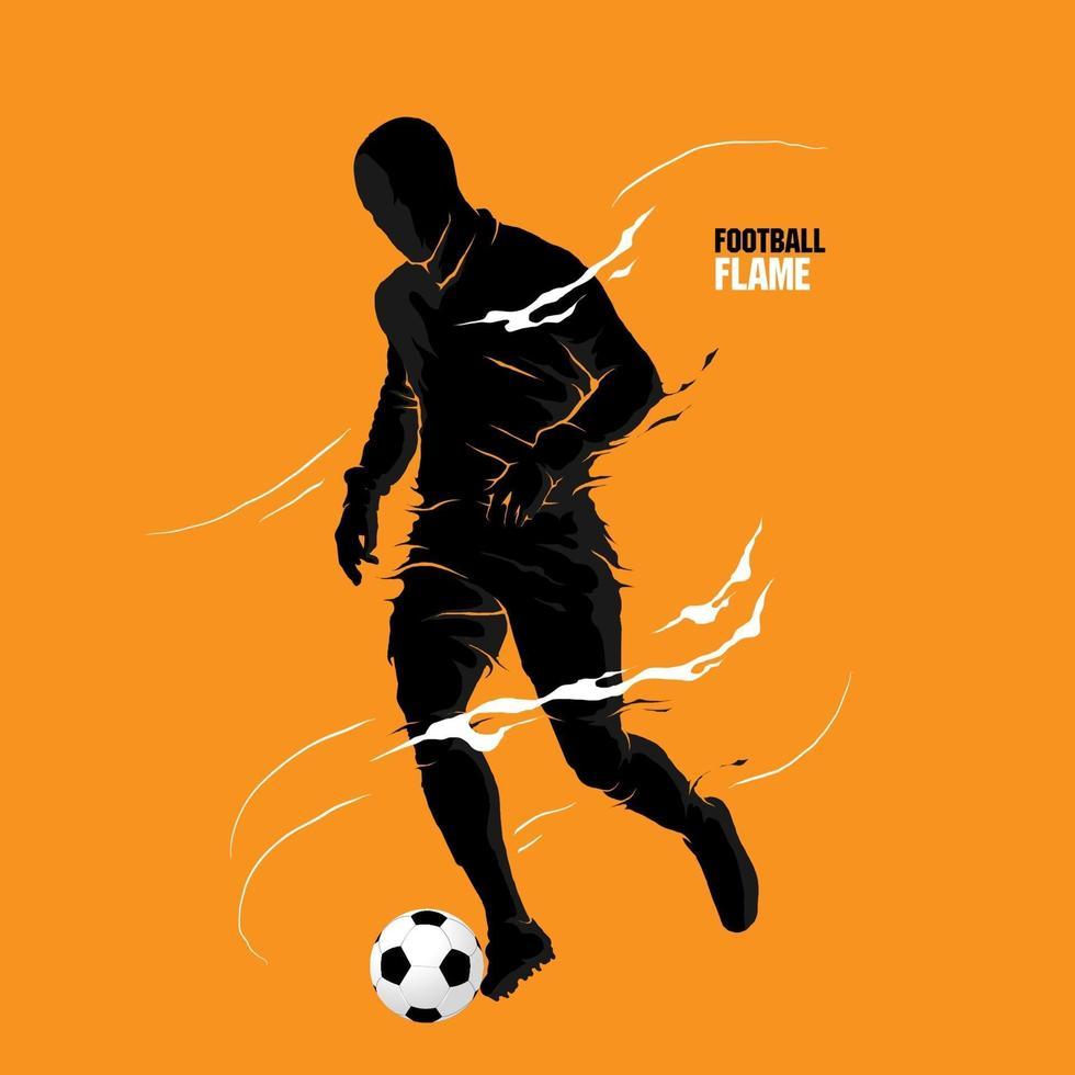 silhueta da chama do futebol futebol vetor