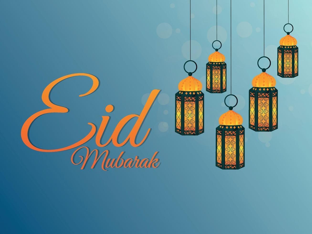 fundo eid mubarak realista com lanterna vetor