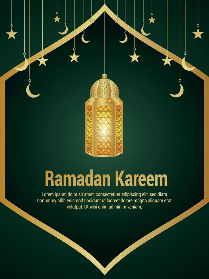 Festival Islâmico de Ramadan Kareem Com Lanterna Criativa vetor