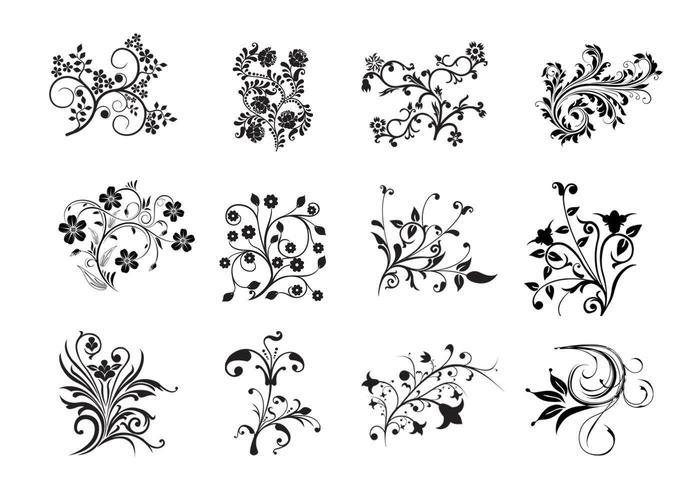 12 vetores florais de Swirly
